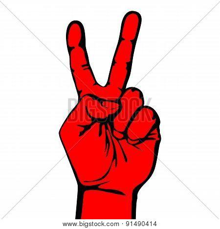 V Hand Victory Symbol Vector Logo Design Creative Win Icon.