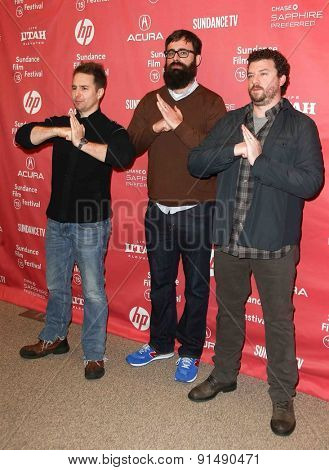 PARK CITY, UT-JAN 28: (L-R) Actors Sam Rockwell, director Jared Hess and Danny McBride attend the