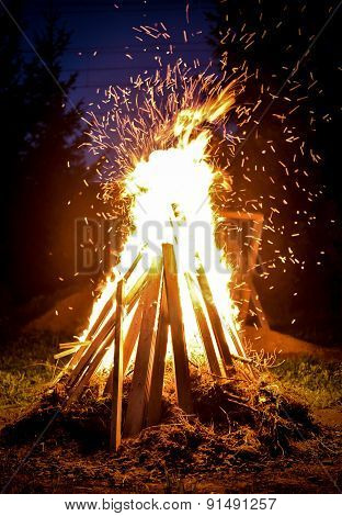 Big Bonfire And Sparks In The Night