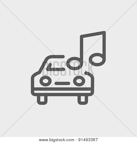 Car with music icon thin line for web and mobile, modern minimalistic flat design. Vector dark grey icon on light grey background.