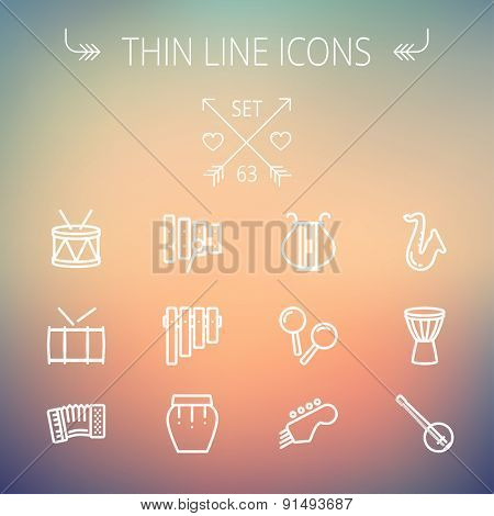Music and entertainment thin line icon set for web and mobile. Set includes-xylophone, tuner, saxophone, banjo, maracas, organ, lyre icons. Modern minimalistic flat design. Vector white icon on
