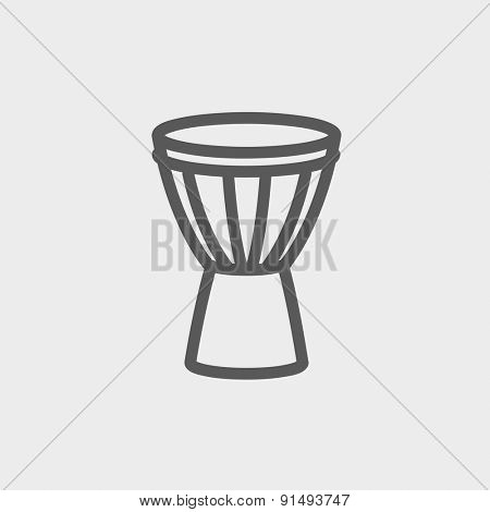 Timpani icon thin line for web and mobile, modern minimalistic flat design. Vector dark grey icon on light grey background.