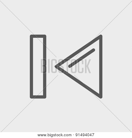 Previous button icon thin line for web and mobile, modern minimalistic flat design. Vector dark grey icon on light grey background.