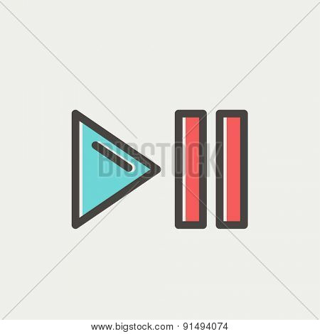 Play, pause button icon thin line for web and mobile, modern minimalistic flat design. Vector icon with dark grey outline and offset colour on light grey background.