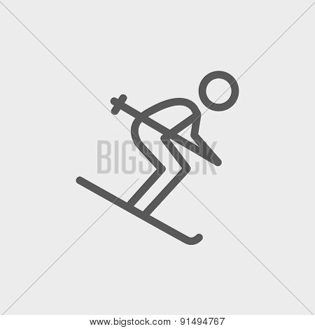 Downhill skiing icon thin line for web and mobile, modern minimalistic flat design. Vector dark grey icon on light grey background.