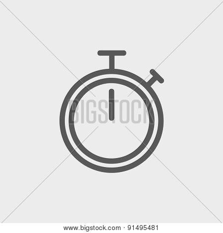 Stop watch icon thin line for web and mobile, modern minimalistic flat design. Vector dark grey icon on light grey background.