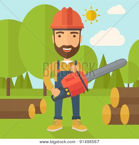Lumberjack with hard hat as protection cuts a tree by chainsaw under the heat of the sun. A Contemporary style with pastel palette, soft blue tinted background with desaturated clouds. Vector flat