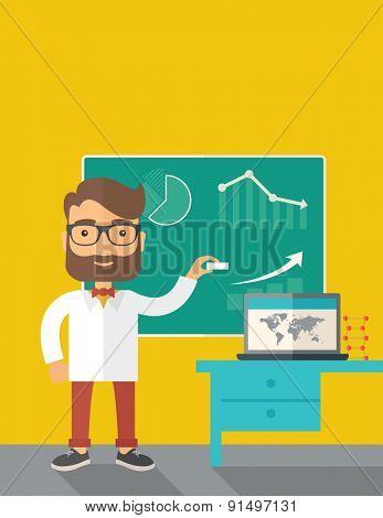 A young professor holding a chalk sketching a graphs and teaching on how to develop a business worlwide. A Contemporary style with pastel palette, dark yellow tinted background. Vector flat design poster