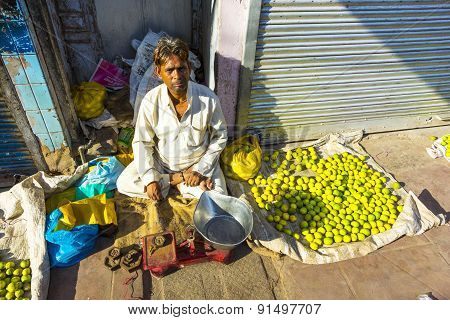 Typical Vegetable Street Market In Delhi