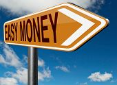 fast easy money quick extra cash make a fortune online income road sign arrow  poster