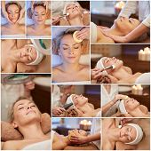 beauty, healthy lifestyle and relaxation concept - collage of many pictures with beautiful young woman having facial massage and treatments by cosmetologist at spa salon poster