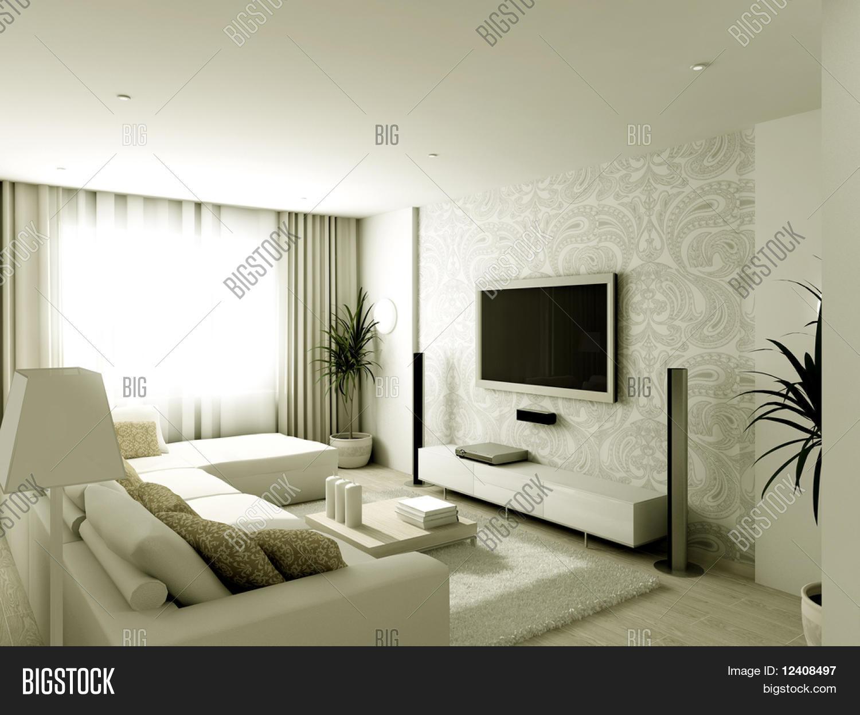 Superior Modern Design Interior Of Living Room. 3D Render