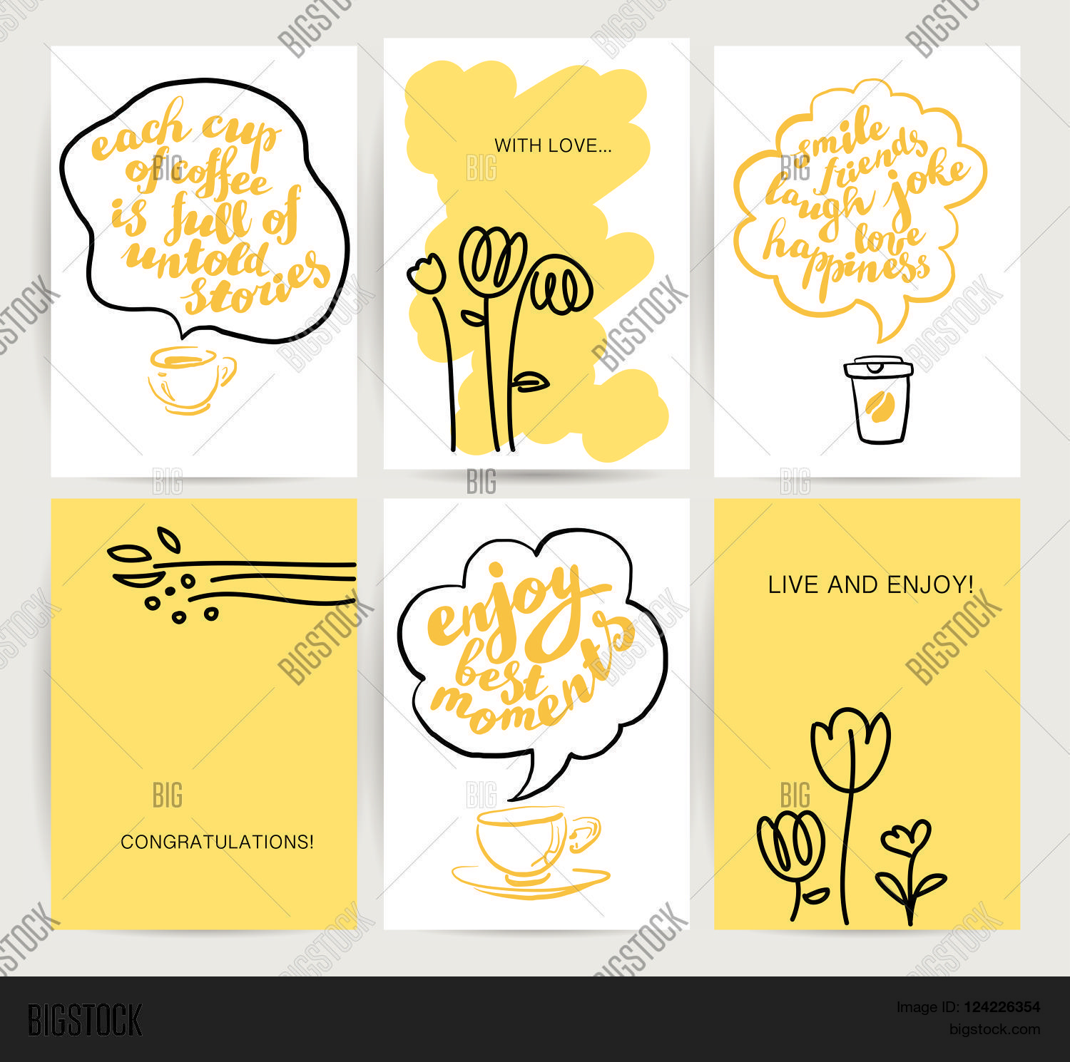 Vector postcards vector photo free trial bigstock vector postcards template set hand drawn flower coffee cup cute lovely card stopboris Images