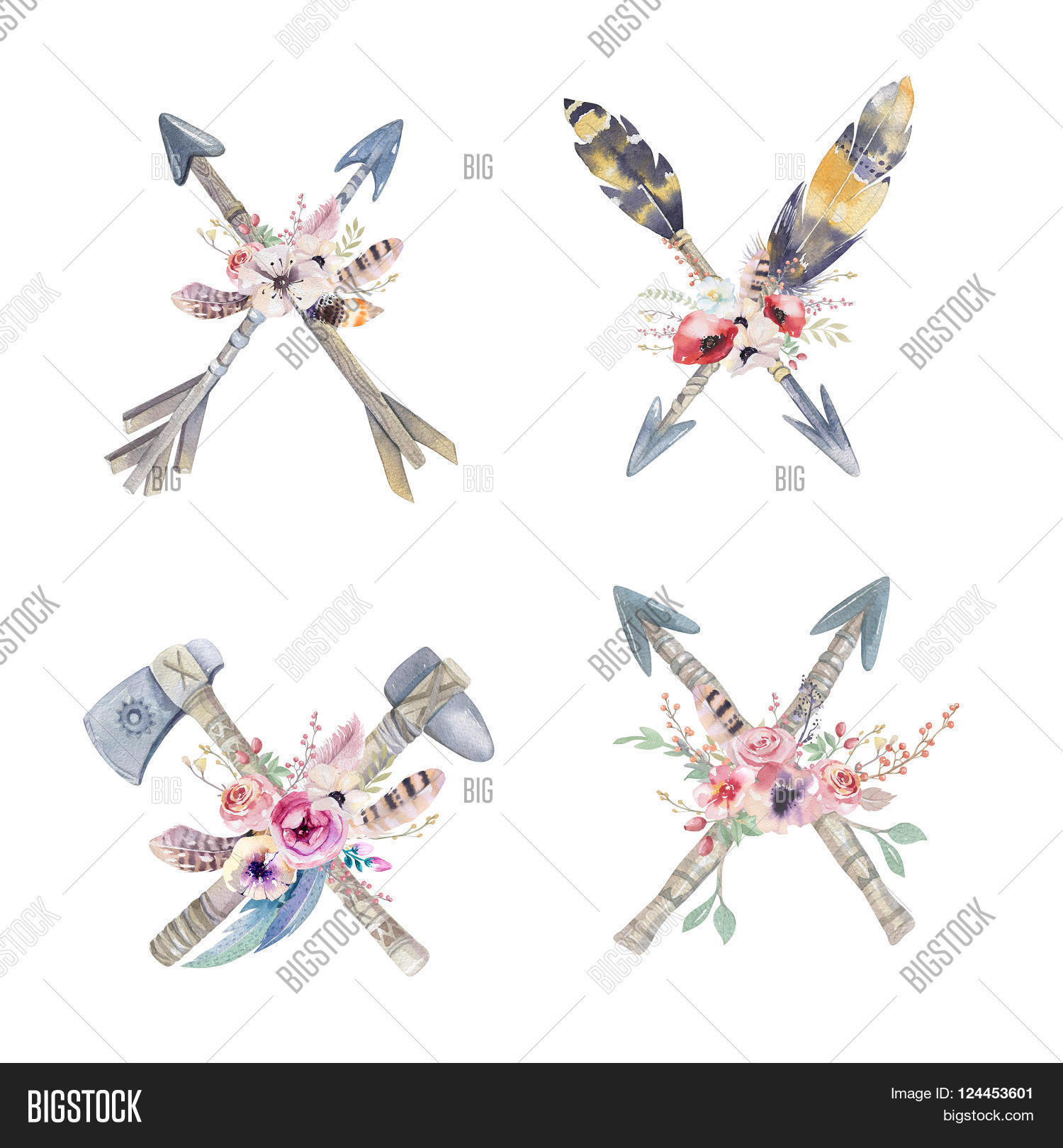 Watercolor colorful ethnic set of arrows and flowers in native American style.Tribal Navajo isolated