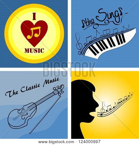 four of the logo on the theme of music and musical instruments
