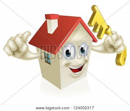 Cartoon House Holding Key