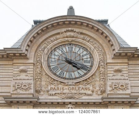 PARIS FRANCE - JANUARY 6: Paris Orleans Clock on JANUARY 6 2010. Big Glass Clock at Gare d Orsay Museum in Paris France.