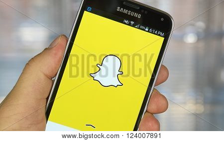 MONTREAL CANADA - MARCH 20 2016 - Snapchat application on android smartphone. Snapchat is a mobile messaging application used to share photos videos text and drawings.