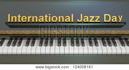 International Jazz Day concept with piano 3D rendering