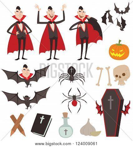 Cartoon Dracula vector symbols. Dracula vampire icons. Cartoon Dracula smiling. Cartoon Dracula character isolated. Cartoon vampire funny man, comic Dracula Halloween symbols