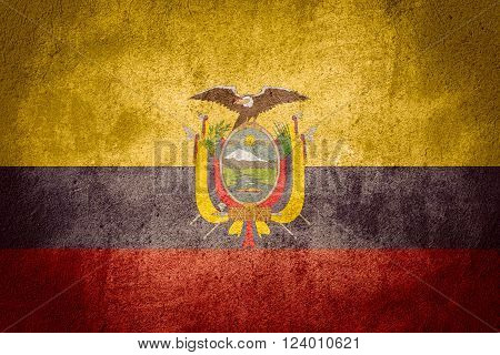 flag of Ecuador or Ecuadorian nbanner on rough pattern background