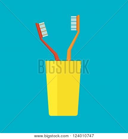 Tooth brush vector. Teeth and Tooth brush modern vector illustration.Flat design modern vector of tooth brush in a yellow cup. Isolated toothbrushes. Healthcare vector with tooth brushes.