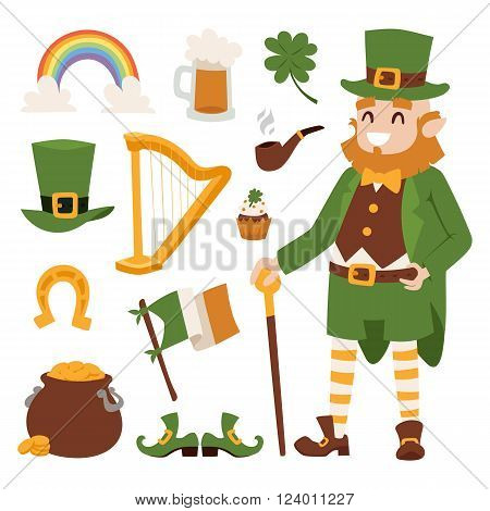 St. Patrick's Day vector icons and Leprechaun. St. Patrick's Day vector cartoon style symbols. St. Patrick's Day irish man, leaf and hat isolated on white background