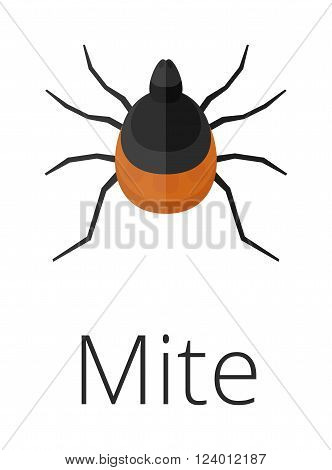 Mite skin parasite vector illustration. Mite skin parasite isolated on white background. Mite skin parasite vector icon illustration. Mite skin parasite isolated vector. Mite skin parasite silhouette