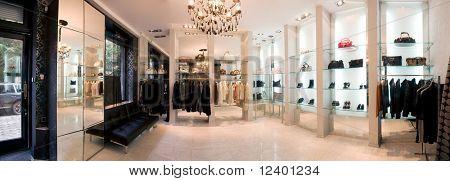 panoramic image of luxury boutique interior