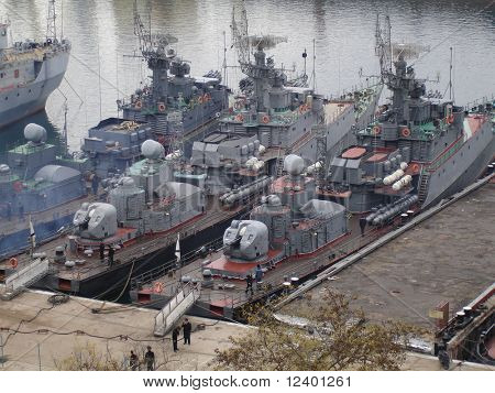 military ships in the harbour