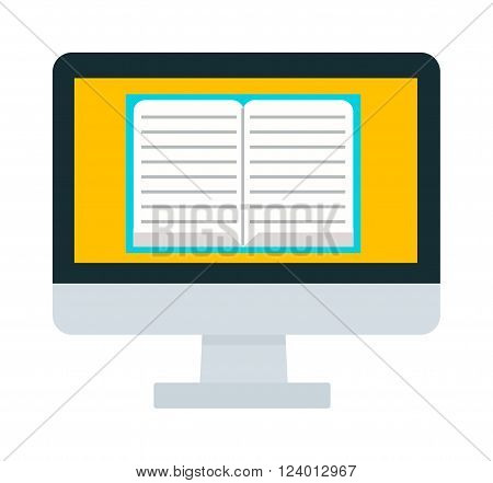 E-books computer vector illustration. E-books computer isolated on white background. E-books computer vector icon illustration. E-books computer isolated vector. E-books computer silhouette