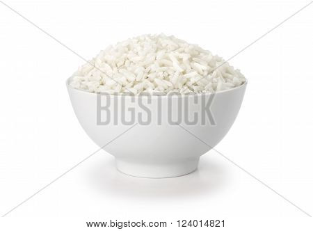 cooked rice in white cup or bowl isolate on white background with clipping path. bowl full of rice - the most popular grain based foods in Asia cooking or eating mainly in the world