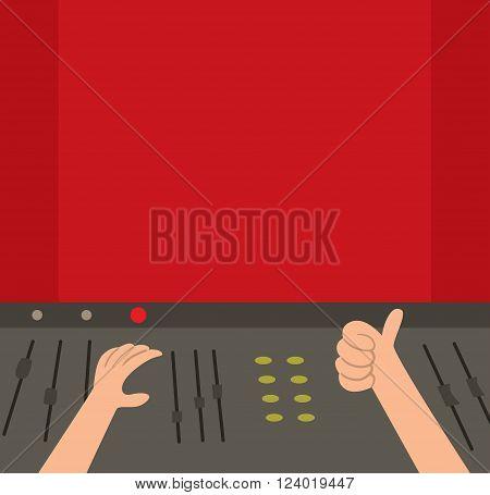 Sound recording studio vector illustration. Sound recording studio isolated on white background. Sound recording studio vector silhouette
