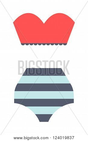Flat swimsuit isolated illustration. Flat icon and mobile application red swimsuit. Woman swimwear red swimsuits flat icon isolated illustration. Flat swimsuit bikini design.