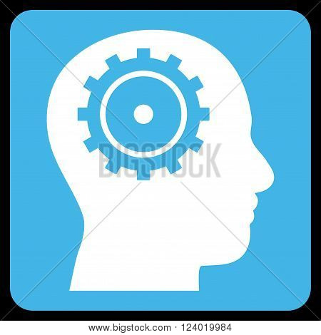 Intellect vector icon. Image style is bicolor flat intellect iconic symbol drawn on a rounded square with blue and white colors.