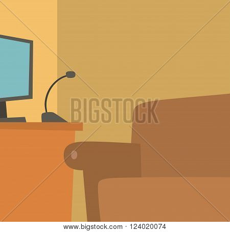 Home recording place vector illustration. Sound recording mike and computer background. Sound recording home made studio