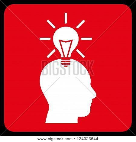 Genius Bulb vector icon symbol. Image style is bicolor flat genius bulb iconic symbol drawn on a rounded square with red and white colors.