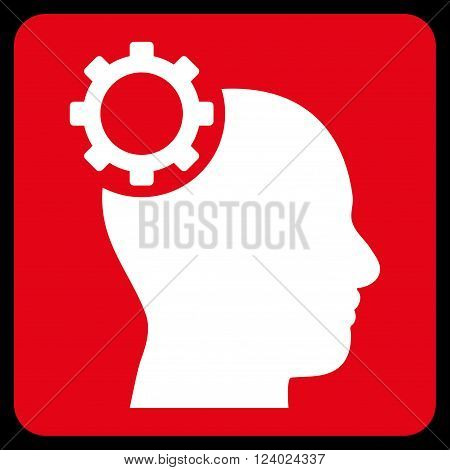 Intellect Gear vector symbol. Image style is bicolor flat intellect gear pictogram symbol drawn on a rounded square with red and white colors.