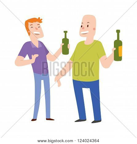 Group of friends alcoholics people at a bar illustration. Alcoholics people two men holding hands with a bottle of alcohol. Alcoholics people laughing . Laughing two man.