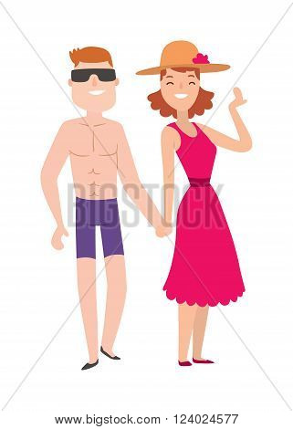 Couple beach man and woman cartoon illustration. Beach couple walking. Young happy lovers couple beach, man holding hands embracing outdoors. Happy couple beach together. Romantic couple beach.