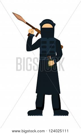 Terrorist isolated on white background. Terrorist illustrator. Terrorist with weapon. Terrorist with gun. Criminal terror attack