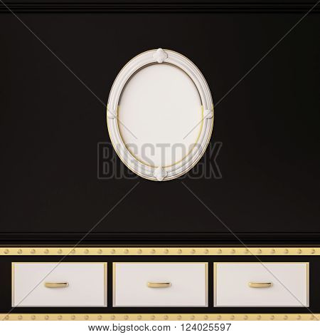 Contemporary decoration shelves and picture frame on black wall, 3d rendered