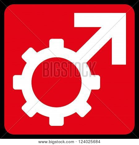 Technological Potence vector icon. Image style is bicolor flat technological potence pictogram symbol drawn on a rounded square with red and white colors.