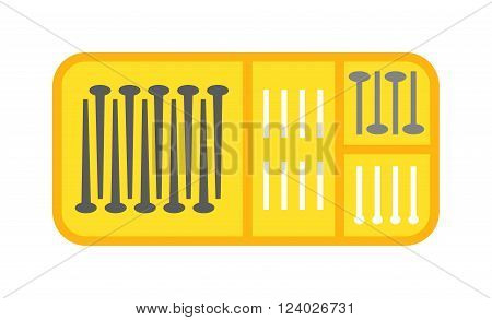 Bolts box vector. Bolts box illustration. Bolts box isolated on white. Bolts box icon. Bolts box isolated. Bolts box silhouette. Bolts box flat style. Bolts yellow box tool