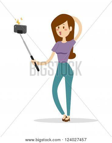 Selfie girl vector illustration. Selfie girl isolated on white background. Selfie girl vector icon illustration. Selfie girl isolated vector. Selfie girl silhouette