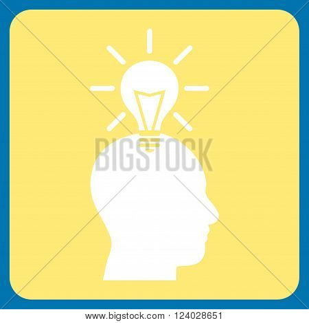 Genius Bulb vector icon. Image style is bicolor flat genius bulb icon symbol drawn on a rounded square with yellow and white colors.