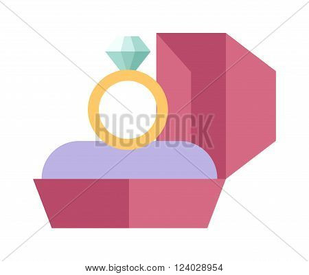 Vector wedding ring in a beautiful pink box flat design. Wedding ring and pink box. Wedding ring symbol of love. Wedding ring jewelry. Wedding ring marriage celebration.