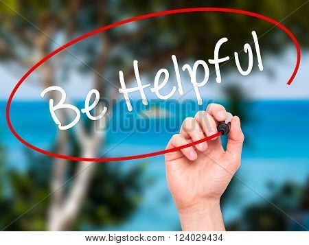Man Hand Writing Be Helpful With Black Marker On Visual Screen.