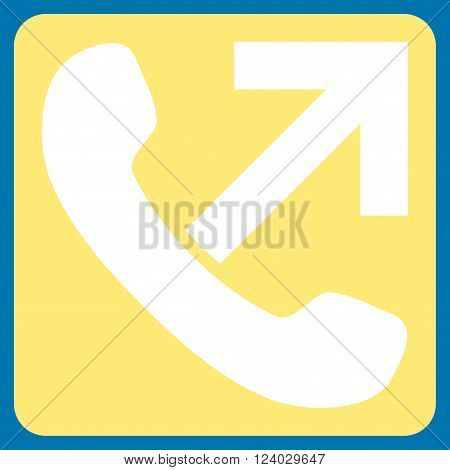 Outgoing Call vector pictogram. Image style is bicolor flat outgoing call icon symbol drawn on a rounded square with yellow and white colors.
