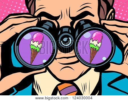 Man wants ice cream pop art retro style. Hunger and food. Man looking through binoculars. Heat and coolness. Sweets and desserts